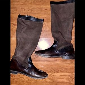 Frye Brown Paige Leather and Canvas Riding Boots